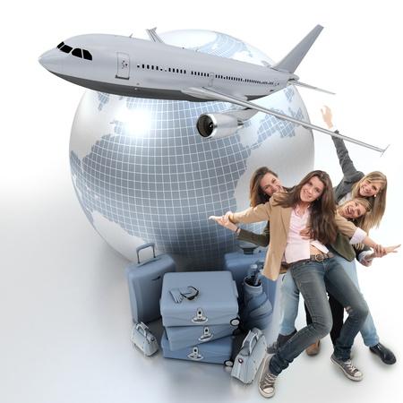 voyage: Un groupe de filles heureuses célébrer un voyage de vacances
