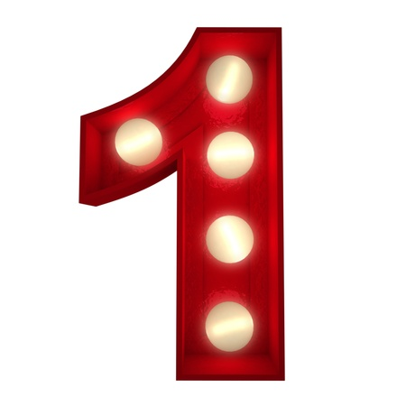 number one: 3D rendering of a glowing number 1 ideal for show business signs (part of a complete alphabet)