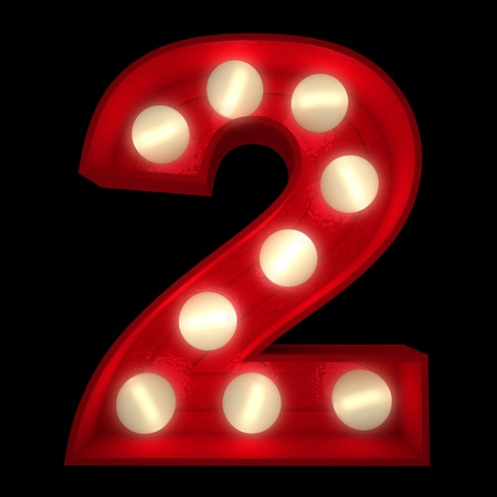 3D rendering of a glowing number 2 ideal for show business signs (part of a complete alphabet) Stock Photo