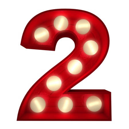 number two: 3D rendering of a glowing number 2 ideal for show business signs (part of a complete alphabet) Stock Photo