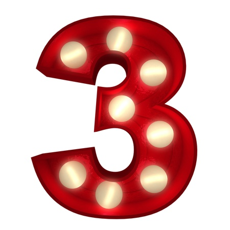 number three: 3D rendering of a glowing number 3 ideal for show business signs (part of a complete alphabet)