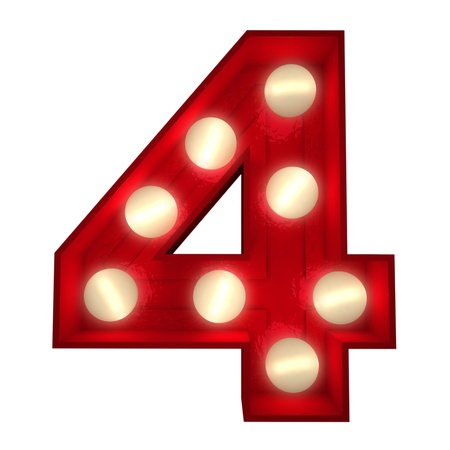 number four: 3D rendering of a glowing number 4 ideal for show business signs (part of a complete alphabet) Stock Photo