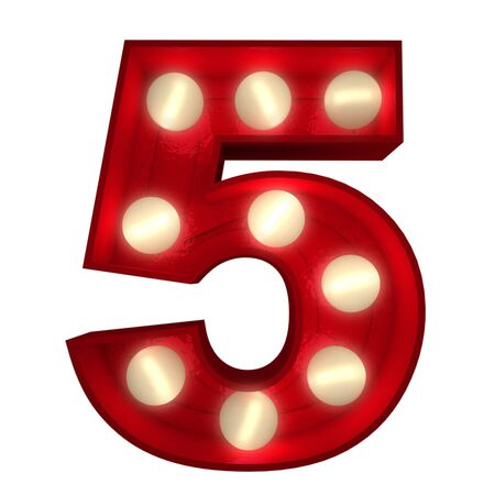 number five: 3D rendering of a glowing number 5 ideal for show business signs (part of a complete alphabet)