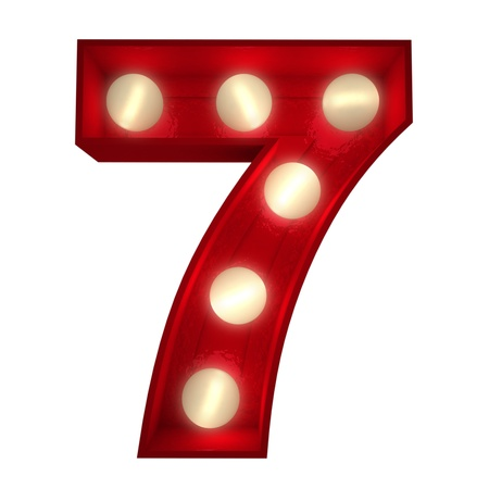 number seven:  3D rendering of a glowing number 7 ideal for show business signs (part of a complete alphabet) Stock Photo