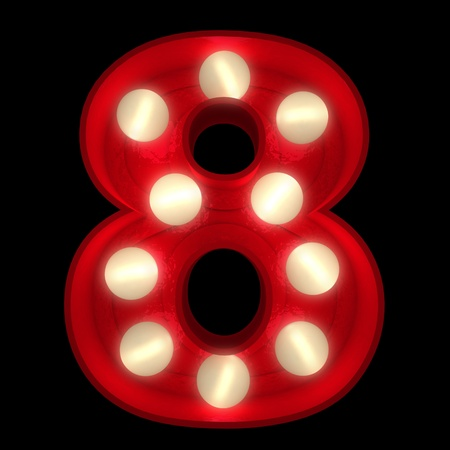 3D rendering of a glowing number 8 ideal for show business signs (part of a complete alphabet) Stock Photo - 13354333