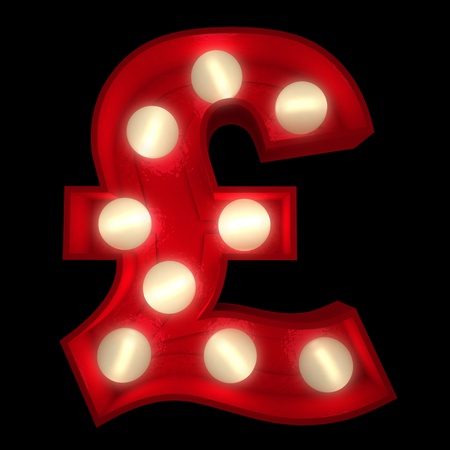 3D rendering of a glowing British Pound symbol ideal for show business signs (part of a complete alphabet) photo