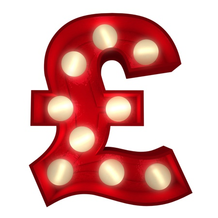 british pound: 3D rendering of a glowing British Pound symbol ideal for show business signs (part of a complete alphabet) Stock Photo