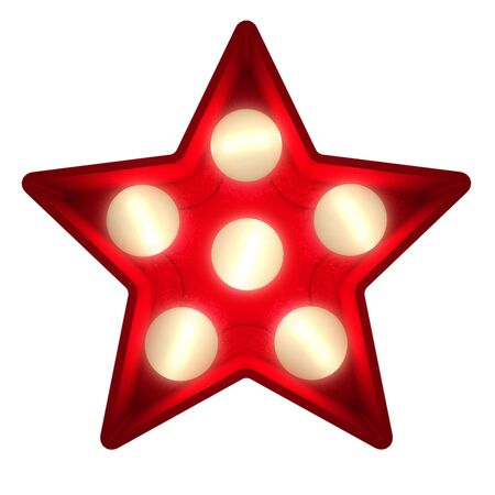 showbiz: 3D rendering of a glowing star ideal for show business signs (part of a complete alphabet)