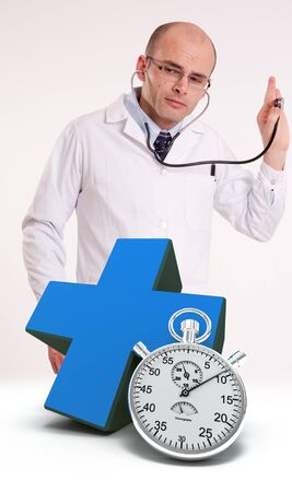 Doctor using stethoscope, a blue cross and a chronometer Stock Photo - 13354581