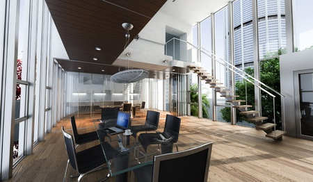 Realistic rendering of a modern luxurious office, with breathtaking view