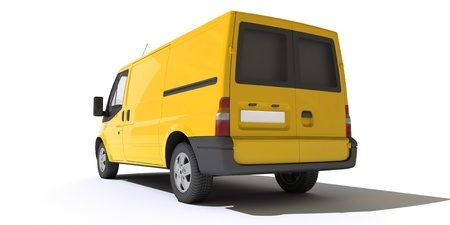 3D rendering of a yellow transportation van with no brand name (rear view)   Stock Photo