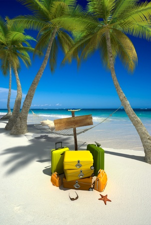 Yellow luggage, hanging hammock,  blank wooden sign and thongs on a tropical beach Stock Photo - 13354663