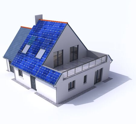 3D rendering of a residential house with solar panels on the roof