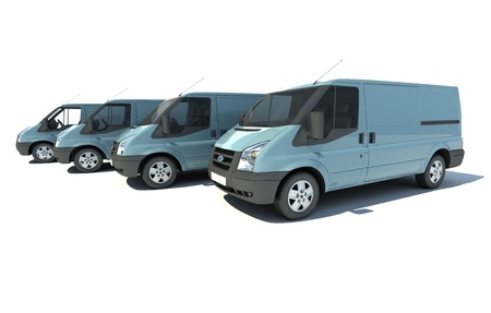 fleet:  3D rendering of a line of 4 blue-gray vans with no brand name