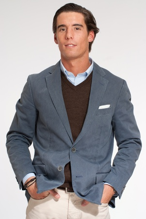blazer:  Portrait of a young Spanish man in casual business cloths