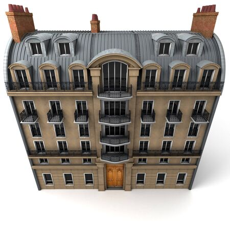 3D rendering of a typically Parisian building, Aerial perspective Stock Photo - 13442831