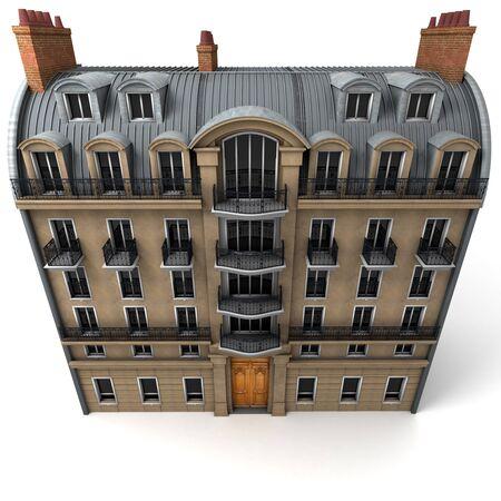 3D-weergave van een typisch Parijs gebouw, Aerial perspectief