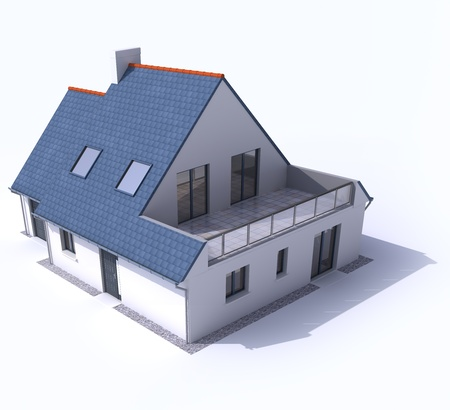 3D architecture model of a house,  Stock Photo - 13441990