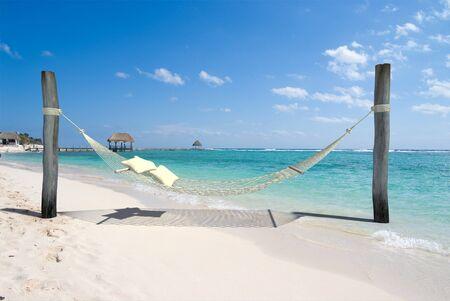 palapa: A hanging hammock, on a beach resort Stock Photo