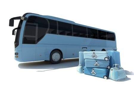 Rendu 3D d'un autobus et un tas de bagages en nuances de bleu pâle
