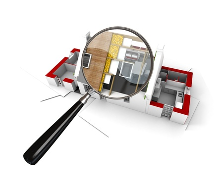 insulating: 3D rendering of a house under construction scrutinized by a magnifying glass