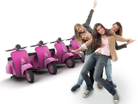 exultant: A group of happy girls and a line of scooters