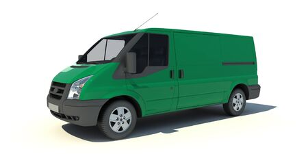 delivery van:   3D rendering of a green transportation van with no brand name