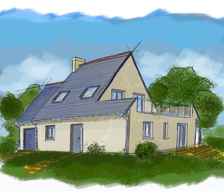Drie dimensionale huis schets met aquarel Stockfoto