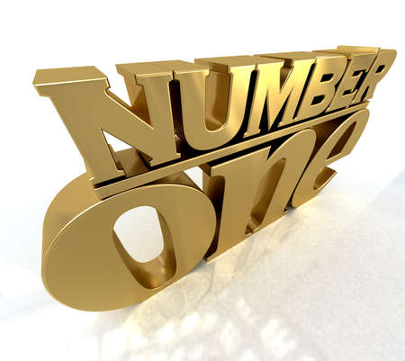 rank:  3D rendering of the words number one in gold