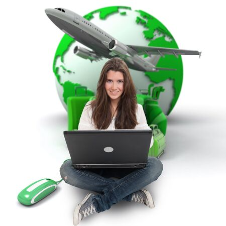 trolley case: Young woman sitting on the floor with a laptop with the Earth a pile of luggage and an airplane at the background Stock Photo