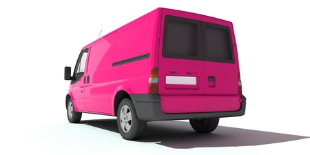 delivery van:   3D rendering of a pink transportation van with no brand name (rear view)   Stock Photo