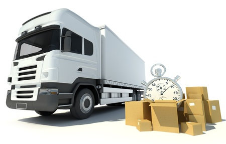 delivery package:    3D rendering of a white truck, a pile of boxes and a chronometer
