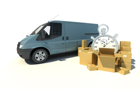 parcel service:  3D rendering of a gray blue van, a pile of boxes and a chronometer