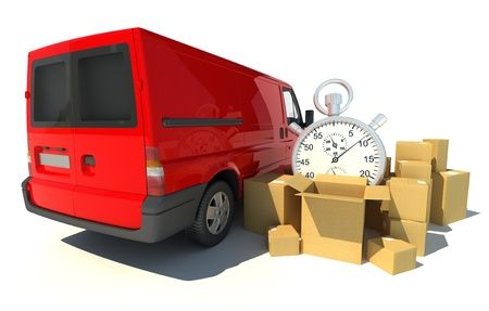 beat the clock:   3D rendering of a red van, a pile of boxes and a chronometer