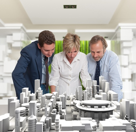 architecture project: A business team inspecting an architecture project