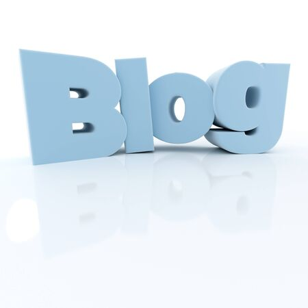 weblog: 3D rendering of the word blog in blue letters Stock Photo
