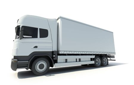 moving van: 3D rendering of a white truck without brand Stock Photo