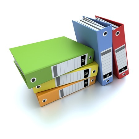 3D-rendering of a group of colorful ring binders Stock Photo - 13496688