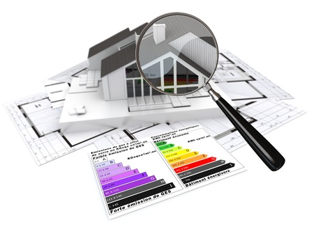 isolation: 3D rendering of a house, on top of blueprints, with and energy efficiency rating chart and a magnifying glass