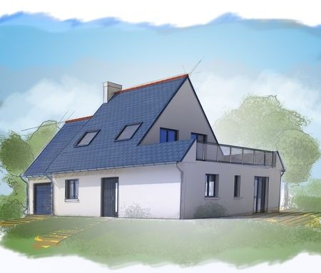roof construction: Three dimensional house sketch with watercolor
