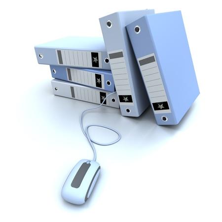 3D-weergave van een groep blauwe ringbanden aangesloten op een computer muis
