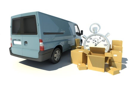 up service: 3D rendering of a gray blue van, a pile of boxes and a chronometer Stock Photo