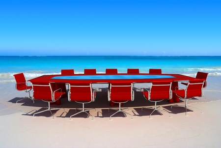 staff meeting: Meeting room by the water in a tropical beach