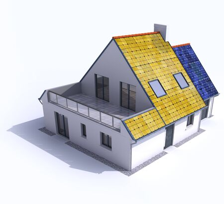 solar collector: 3D rendering of a residential house with solar panels on the roof Stock Photo
