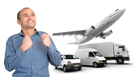 3d manager: Happy man with satisfied expression by a transport fleet