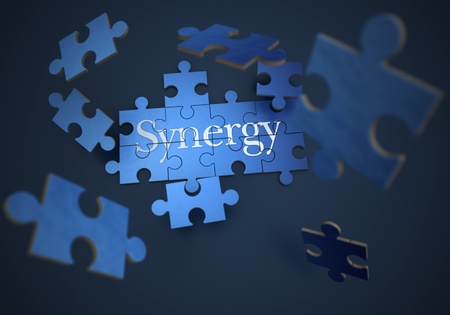 synergy: 3D rendering of a forming puzzle with the word synergy