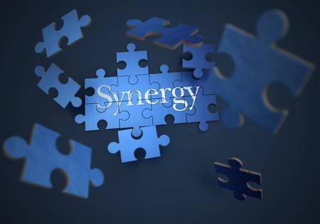 sinergia: Representación 3D de un rompecabezas que forma con la palabra sinergia Foto de archivo