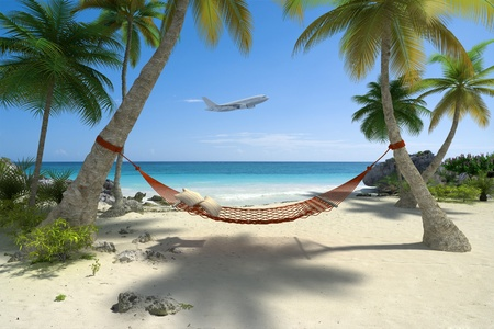 Exotic travel composition with a flying plane, a tropical beach with a hammock hanging from palm trees photo