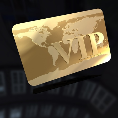 3D rendering of a golden card with the word VIP engraved on it photo