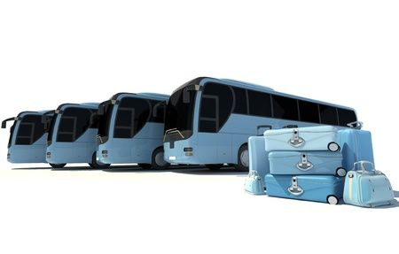 coach bus:  3D rendering of a line of coach buses and a pile of luggage in pale blue shades